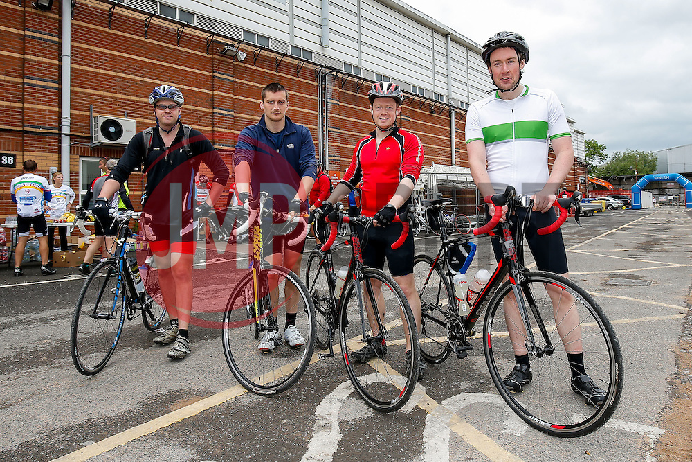 Cyclists (457, 451, 454, 458) take part in Break the Cycle, a 110 mile charity bike ride organised by the Bristol, Bath and Gloucester Rugby Community Foundations, visiting their respective stadia, Ashton Gate, The Recreation Ground and Kingsholm Stadium - Photo mandatory by-line: Rogan Thomson/JMP - 07966 386802 - 14/06/2015 - SPORT - Cycling - Bristol, England - Ashton Gate Stadium.