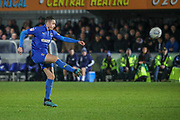 AFC Wimbledon midfielder Anthony Hartigan (8) shoots at goal during the EFL Sky Bet League 1 match between AFC Wimbledon and Southend United at the Cherry Red Records Stadium, Kingston, England on 1 January 2020.
