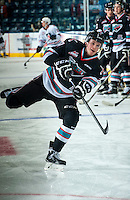 KELOWNA, CANADA - SEPTEMBER 25: Lucas Johansen #7 of Kelowna Rockets warms up against the Kamloops Blazers on September 25, 2015 at Prospera Place in Kelowna, British Columbia, Canada.  (Photo by Marissa Baecker/Shoot the Breeze)  *** Local Caption *** Lucas Johansen;