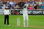 Keith Barker of Warwickshire holds his hands in front of his face after he goes close to taking another wicket during the Specsavers County Champ Div 1 match between Somerset County Cricket Club and Warwickshire County Cricket Club at the Cooper Associates County Ground, Taunton, United Kingdom on 6 September 2016. Photo by Graham Hunt.