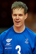 Katowice, Poland - 2017 September 02: Athlete Saku Suikkanen from SO Finland smiles while SO Azerbaijan versus SO Finland match during European Unified Volleyball Tournament 2017 at Spodek Hall on September 02, 2017 in Katowice, Poland.<br /> <br /> Adam Nurkiewicz declares that he has no rights to the image of people at the photographs of his authorship.<br /> <br /> Picture also available in RAW (NEF) or TIFF format on special request.<br /> <br /> Any editorial, commercial or promotional use requires written permission from the author of image.<br /> <br /> Image can be used in the press when the method of use and the signature does not hurt people on the picture.<br /> <br /> Mandatory credit:<br /> Photo by © Adam Nurkiewicz / Mediasport