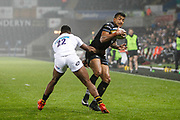 Jay Baker of the Ospreys and Taju Atta of Wasps during the Anglo Welsh Cup match between Ospreys and Wasps at The Liberty Stadium, Swansea, Wales on 10 November 2017. Photo by Andrew Lewis.