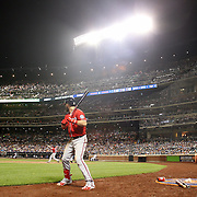 NEW YORK, NEW YORK - July 09: Daniel Murphy #20 of the Washington Nationals hits a two run home run in the seventh inning as Bryce Harper #34 of the Washington Nationals waits on deck during the Washington Nationals Vs New York Mets regular season MLB game at Citi Field on July 09, 2016 in New York City. (Photo by Tim Clayton/Corbis via Getty Images)