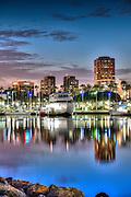 Long Beach, CA, City, Cityscape, Skyline, Architectural, Building, Southern California, USA, Cityscape Skyline, Rainbow Harbor, Night, Lit, Dusk