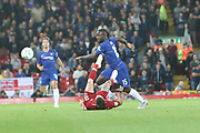 15 Victor Moses for Chelsea FC challenges 18 Alberto Moreno for Liverpool FC during the EFL Cup match between Liverpool and Chelsea at Anfield, Liverpool, England on 26 September 2018.