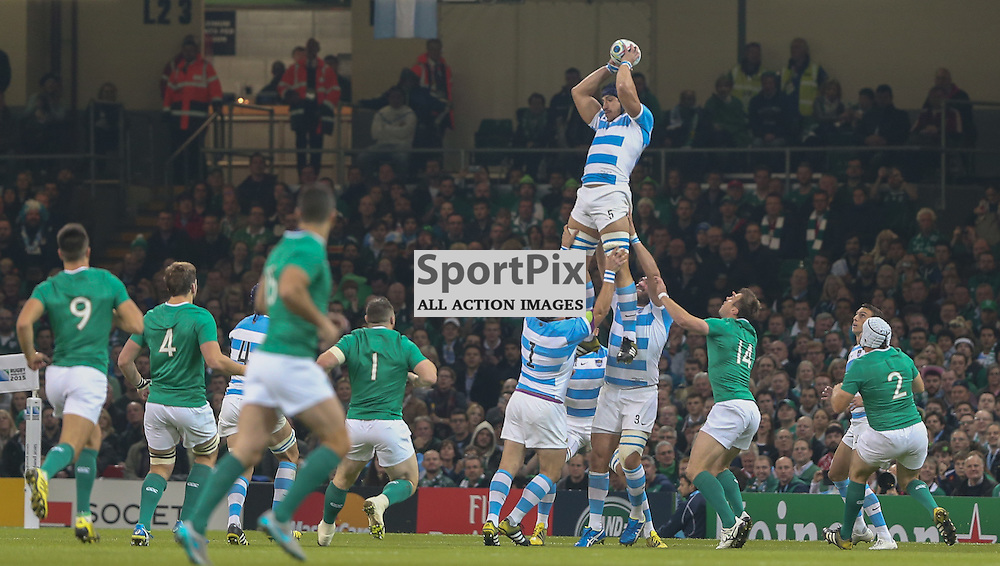 Tomas Lavanini catches the ball the Rugby World Cup Quarter Final, Ireland v Argentina, Sunday 18 October 2015, Millenium Stadium, Cardiff (Photo by Mike Poole - Photopoole)