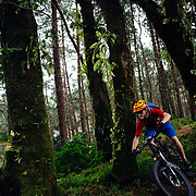 Andrew Whiteford rides the Doi Bakia Trail in the higher altitude jungle near Ban Sop Gai, Thailand.