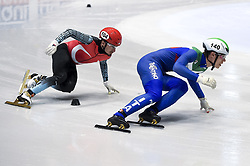 February 8, 2019 - Torino, Italia - Foto LaPresse/Nicolò Campo .8/02/2019 Torino (Italia) .Sport.ISU World Cup Short Track Torino - 500 meter Men Preliminaries.Nella foto: Marco Girodano (destro), Davut Tahtaci..Photo LaPresse/Nicolò Campo .February 8, 2019 Turin (Italy) .Sport.ISU World Cup Short Track Turin - 500 meter Men Preliminaries.In the picture: Marco Girodano (R), Davut Tahtaci (Credit Image: © Nicolò Campo/Lapresse via ZUMA Press)
