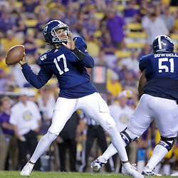 Aug 31, 2019; Baton Rouge, LA, USA; Georgia Southern Eagles quarterback Justin Tomlin (17) passes against the LSU Tigers during the second half at Tiger Stadium. Mandatory Credit: Derick E. Hingle-USA TODAY Sports