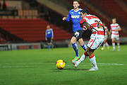Cameron Stewart of Doncaster Rovers scores for donny to go 3-0 up during the Sky Bet League 1 match between Doncaster Rovers and Chesterfield at the Keepmoat Stadium, Doncaster, England on 24 November 2015. Photo by Ian Lyall.
