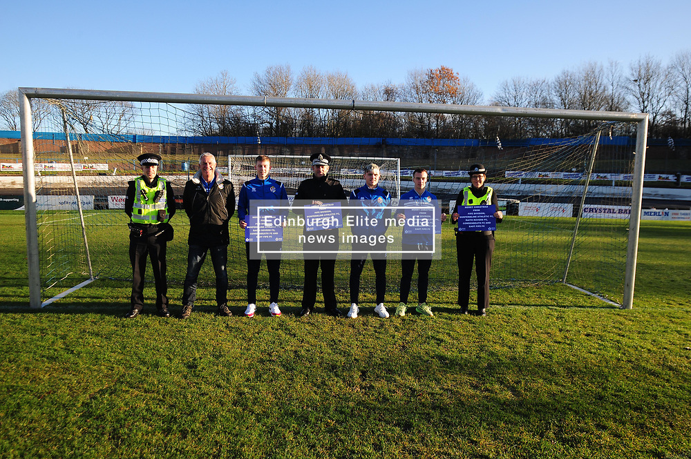 Fife Division, Roads Policing Festive launch, Central Park, Cowdenbeath, 29-11-2019<br /> <br /> PC Barry Smith, Cowdenbeath Director Tom Ewing, Player Kyle Sneddon, Chief Superintendent Derek McEwan, players Connor Smith and Chris Hamilton and PC Louise Wallace<br /> <br /> (c) David Wardle | Edinburgh Elite media