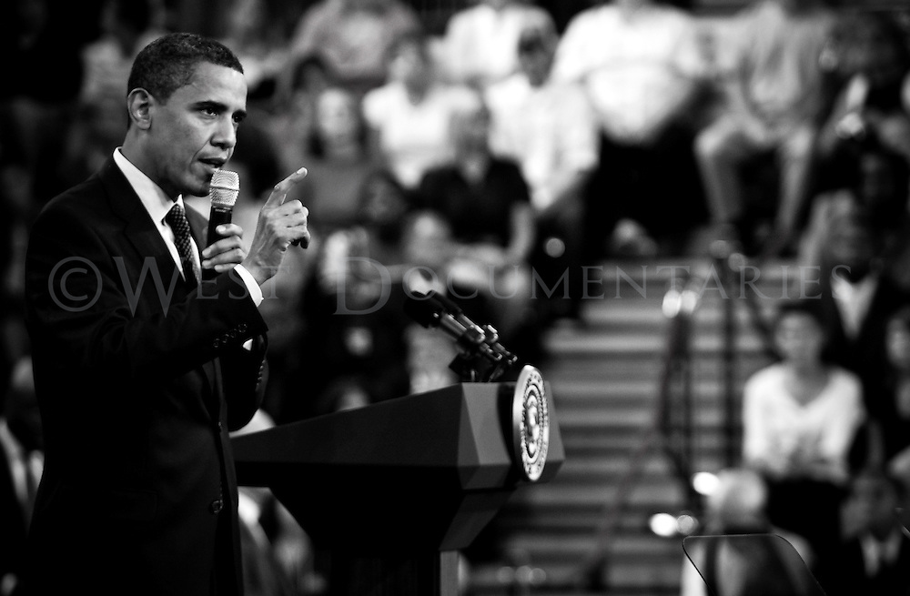 President Obama speaks at a town hall meeting on health care issues at Broughton High School in Raleigh, N.C.