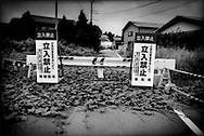 Barrier, demarkating the 20 km nuclear no-entry zone, has become overgrown with vines 6 months after the crisis began.  Near Minami Soma, Fukushima Prefecture, Japan.  As of midnight 21 April 2011, the Japanese government declared the no-entry zone off-limits under the Disaster Countermeasures Basic Law which gives the police the power to detain anyone entering the zone for up to 30 days and impose a fine of up 100,000 JPY (US$1,200).