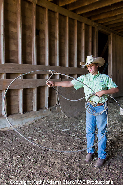 Colby McDonald demonstrating rope tricks at Warren Ranch on Katy Prairie Conservancy; Katy; Texas