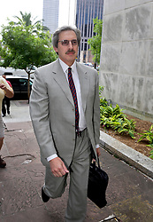 10 June  2015. New Orleans, Louisiana. <br /> Psychiatrist Dr Ted Bloch III arrives incourt to attend week 2 of the hearing to determine the competency of Tom Benson. Bloch assessed Tom Benson for dementia on behalf of the LeBlanc family. Benson is the billionaire owner of the NFL New Orleans Saints, the NBA New Orleans Pelicans, various auto dealerships, banks, property assets and a slew of business interests. Rita, her brother and mother demanded a competency hearing after Benson changed his succession plans and decided to leave the bulk of his estate to third wife Gayle, sparking a controversial fight over control of the Benson business empire.<br /> Photo©; Charlie Varley/varleypix.com