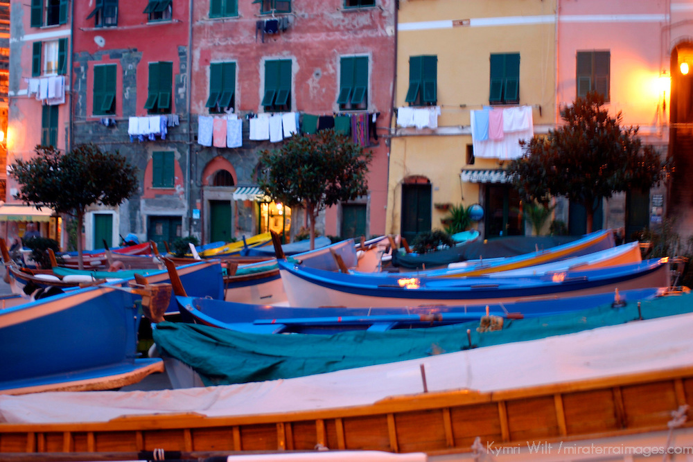 Europe, Italy, Portofino. Boats of Vernazza in the Cinque Terre.