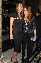 Left to right, SAFFRON ALDRIDGE and JEMIMA KHAN at the 2005 British Fashion Awards held at The V&A museum, London on 10th November 2005.<br />
