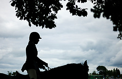 © Licensed to London News Pictures.29/07/15<br /> Borrowby, UK. <br /> <br /> A rider warms up in the practice ring ahead of her show jumping round at the Borrowby Country Show and Gymkhana in North Yorkshire.<br /> <br /> Photo credit : Ian Forsyth/LNP