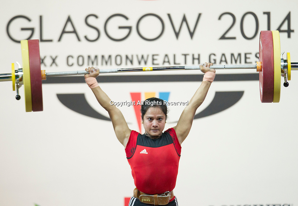 25.07.2014. Glasgow, Scotland. Glasgow Commonwealth Games. Women's 53kg Final. Frenceay Titus of MAS during a lift