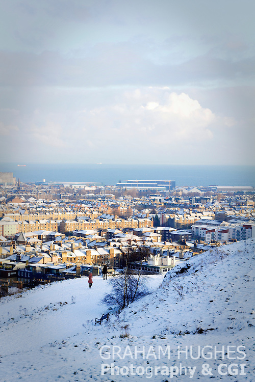Edinburgh, Leith, Snow, People, Walking, Winter,