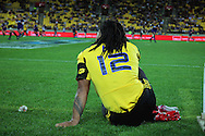 Hurricanes second five Ma'a Nonu watches form the sideline after being sent off for a second yellow card. Super 15 rugby match - Hurricanes v Highlanders at Westpac Stadium, Wellington, New Zealand on Friday, 18 February 2011. Photo: Dave Lintott/PHOTOSPORT