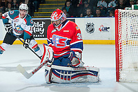 KELOWNA, CANADA - MARCH 7: Tyson Verhelst #31 of Spokane Chiefs defends the net against the Kelowna Rockets on March 7, 2015 at Prospera Place in Kelowna, British Columbia, Canada.  (Photo by Marissa Baecker/Shoot the Breeze)  *** Local Caption *** Tyson Verhelst;
