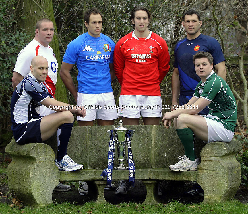 23/1/2008 RBS Six (6) Nations Media Launch.<br /> Captains Photocall - Team captain Phil Vickery, Sergio Parisse, Ryan Jones, Brian O'Driscoll, Simon Webster and Lionel Nallet.<br /> Photo: David Wilkinson / Offside.