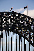 Sydney Sites travel series. People on the Harbour Bridge walk in the late afternoon