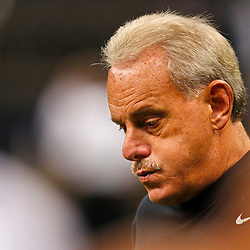 August 17, 2012; New Orleans, LA, USA; New Orleans Saints assistant head coach and linebackers coach Joe Vitt prior to kickoff of a preseason game against the Jacksonville Jaguars at the Mercedes-Benz Superdome. Mandatory Credit: Derick E. Hingle-US PRESSWIRE