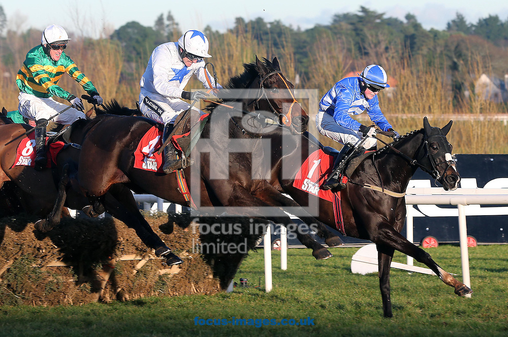 Shemshal ridden by Ruby Walsh wins the Irish Daily Star Novice Handicap Hurdle from Luke Dempsey on Mr Diablo at the Christmas Festival at Leopardstown Racecourse, Leopardstown<br /> Picture by Lorraine O'Sullivan/Focus Images Ltd +353 872341584<br /> 28/12/2014