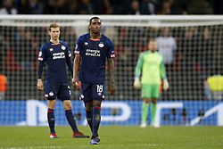 (L-R), Daniel Schwaab of PSV, Pablo Rosario of PSV during the UEFA Champions League group C match between Tottenham Hotspur FC and PSV Eindhoven at the Wembley stadium on November 06, 2018 in London, England