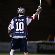 Stephen Berger #10 of the Boston Cannons calls for the ball during the game at Harvard Stadium on August 9, 2014 in Boston, Massachusetts. (Photo by Elan Kawesch)
