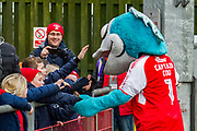 Fleetwood Town team mascot with young fans during the EFL Sky Bet League 1 match between Fleetwood Town and Blackburn Rovers at the Highbury Stadium, Fleetwood, England on 20 January 2018. Photo by Michal Karpiczenko.