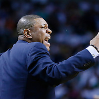 28 April 2013: Boston Celtics head coach Doc Rivers reacts  during Boston Celtics overtime 97-90 victory over the New York Knicks during Game Four of the Eastern Conference Quarterfinals of the 2013 NBA Playoffs at the TD Garden, Boston, Massachusetts, USA.
