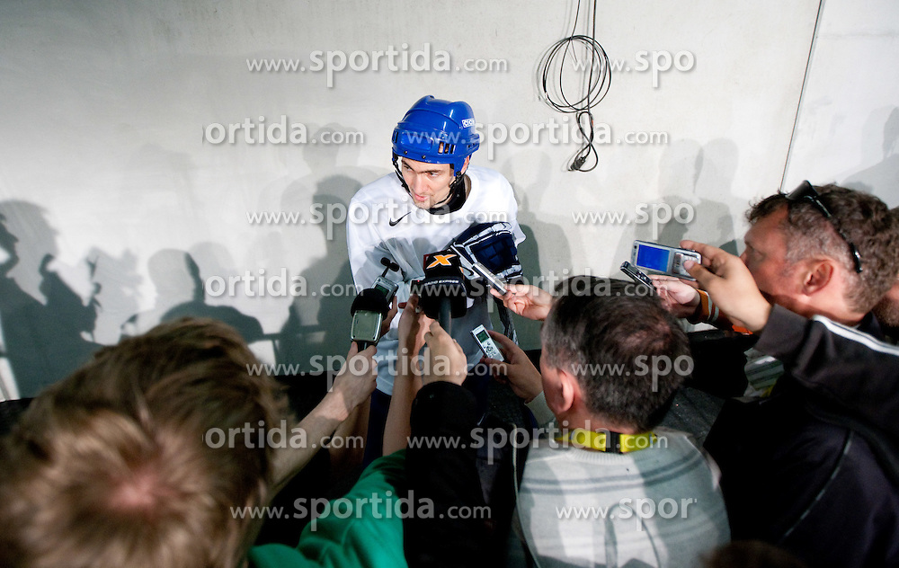 Miroslav Satan in mixed zone after the practice session of Slovakian National ice hockey team 1 day before IIHF 2011 World Championship Slovakia, on April 28, 2011 in Orange Arena, Bratislava, Slovakia. (Photo By Vid Ponikvar / Sportida.com)