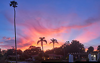Colorful clouds after sunset. Andalusia Plaza in Granada Terrace. Historic Northeast St. Petersburg, Florida. Composite of 5 images taken with a Leica CL camera and 23 mm f/2 lens (ISO 400, 23 mm, f/2.8, 1/125 sec). Raw images processed with Capture One Pro and AutoPano Giga Pro.