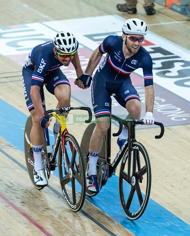 January 27, 2019 - Hong Kong, Hong Kong SAR, China - The French team of Florian Maitre and Benjamin Thomas (R)in the Mens Madison Final.UCI Track Cycling World Cup Hong Kong 2019, Qualifiers Leg VI at the Hong Kong Velodrome in Tseung Kwan O ,Kowloon (Credit Image: © Jayne Russell/ZUMA Wire)