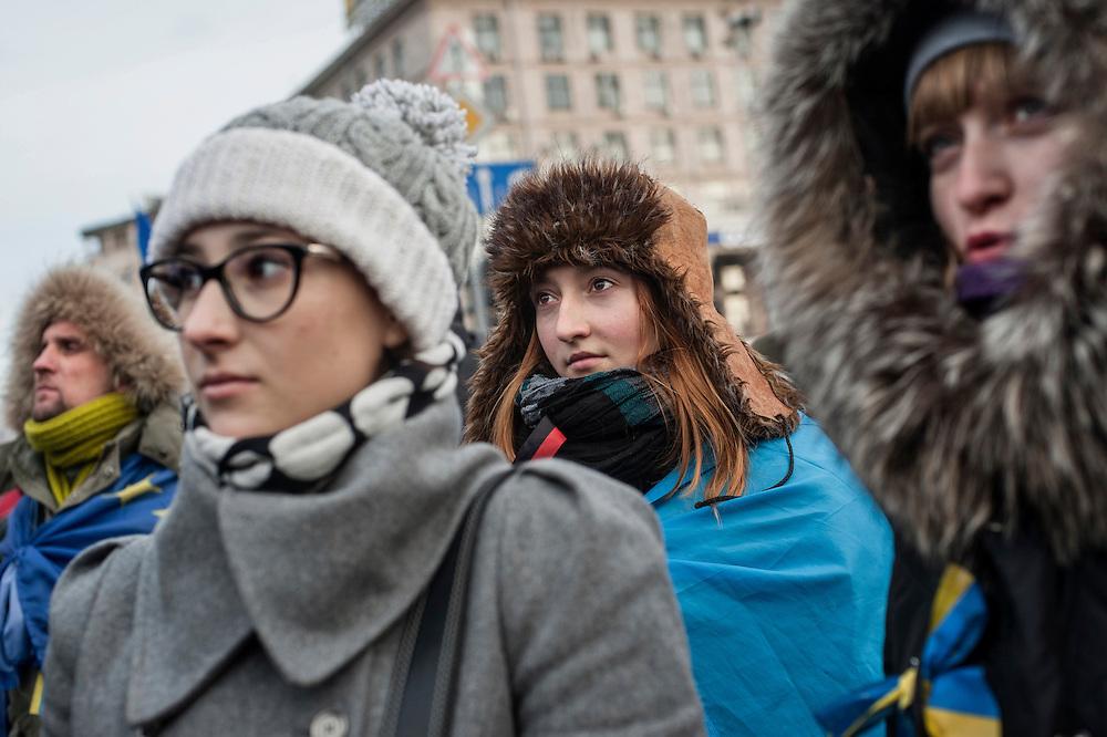 Manifestation d'opposition à Kiev - Ukraine sur la place de l'indépendance mardi 3 décembre 2013.