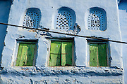 Traditional Bundi house in blue with green shades (India)