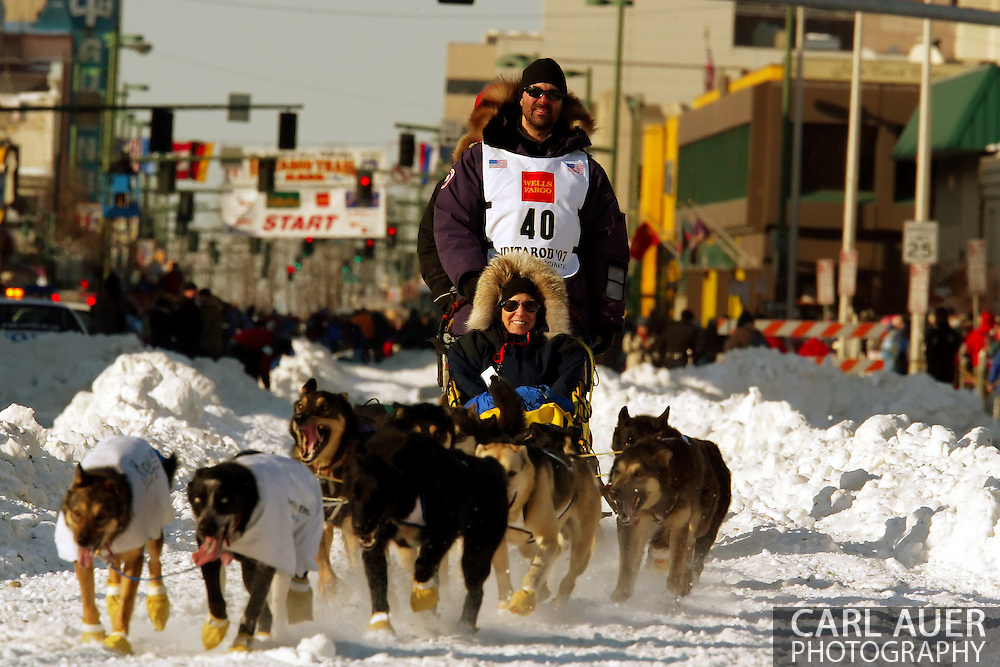 3/3/2007:  Anchorage Alaska -  Rookie Scott White of Snohomish, WA trades the rain of Washington for the snow of Alaska to run the Last Great Race for the first time in the Ceremonial Start of the 35th Iditarod Sled Dog Race
