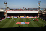 Fir Park in Motherwell soaked in sunshine before the IRN-BRU Cup Final match between Dundee United and St Mirren at Fir Park, Motherwell, Scotland on 25 March 2017. Photo by Craig McAllister.