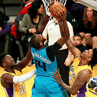 28 February 2017: Charlotte Hornets forward Michael Kidd-Gilchrist (14) goes to the basket against Los Angeles Lakers guard Nick Young (0) during the Charlotte Hornets 109-104 victory over the LA Lakers, at the Staples Center, Los Angeles, California, USA.