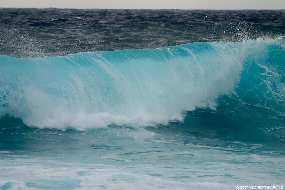 Aqua colored wave taken in Maui, Hawaii