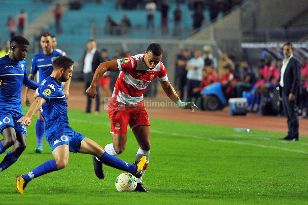 October 22, 2017 - Rades, Tunisia - Matthew Rusike (R)of CA and captain Dean Furman of Super Sport Utd in action during the Semi-final return of the CAF Cup between Club Africain (CA) and Supersport United FC of South Africa at the stadium of Rades  in Tunis..Club Africain lost (1-3) against the South African Super Sport Utd who will face TP Mazembe in the final. (Credit Image: © Chokri Mahjoub via ZUMA Wire)