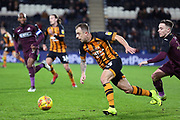 Hull City midfielder Kamil Grosicki (14) on the attack during the EFL Sky Bet Championship match between Hull City and Swansea City at the KCOM Stadium, Kingston upon Hull, England on 22 December 2018.