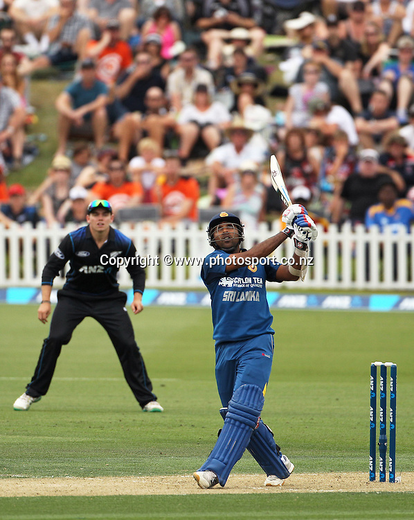 Mahela Jayawardene of Sri Lanka hits the ball up high that was caught by Corey Anderson of the Black Caps during the first ODI between the Black Caps v Sri Lanka at Hagley Oval, Christchurch. 11 January 2015 Photo: Joseph Johnson / www.photosport.co.nz