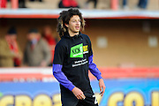 Ethan Ampadu (26) of Exeter City warming up wearing a Kick It Out T-Shirt before the EFL Sky Bet League 2 match between Exeter City and Luton Town at St James' Park, Exeter, England on 26 November 2016. Photo by Graham Hunt.