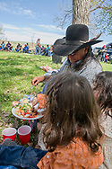 Henry Real Bird, twin grandkids, John, Emma, at daughter Lucy graduation celebration, alongside Little Bighorn River, Medicine Tail Coulee, site of Battle of the Little Bighorn, Crow Indian Reservation, Montana