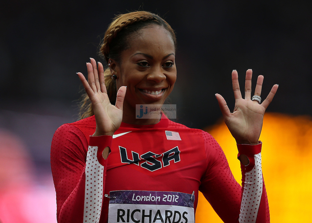 Sanya Richards-Ross of the USA looks on after a 200m heat during track and field at the Olympic Stadium during day 10 of the London Olympic Games in London, England, United Kingdom on August 3, 2012..(Jed Jacobsohn/for The New York Times)..