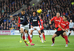 Man Utd Defender Chris Smalling (ENG) goes close with a header - Photo mandatory by-line: Joseph Meredith/JMP - Tel: Mobile: 07966 386802 - 24/11/2013 - SPORT - FOOTBALL - Cardiff City Stadium - Cardiff City v Manchester United - Barclays Premier League.